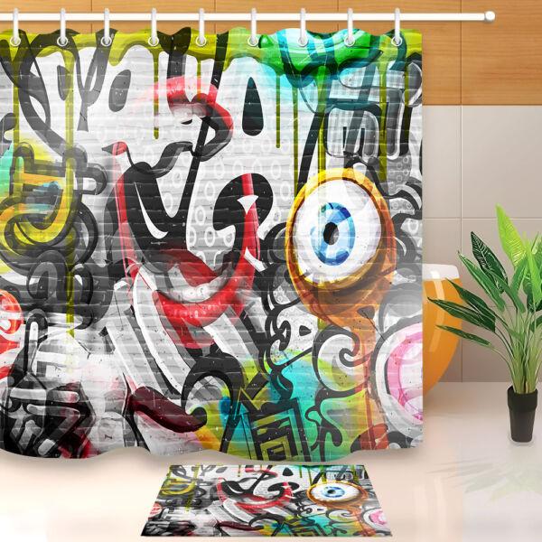 Abstract Graffiti Brick Wall Shower Curtain Bathroom Waterproof Fabric Hooks Set