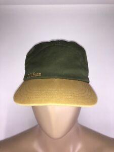 Vintage-L-L-Bean-Lined-Panel-Strapback-Baseball-Hat-Green-Tan-USA