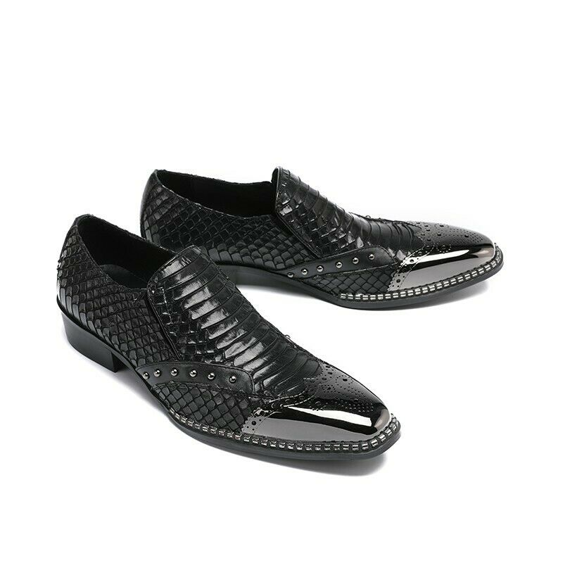 Men Black Pointy Toe Business Party Slip On Leather Formal shoes Loafers US SIZE