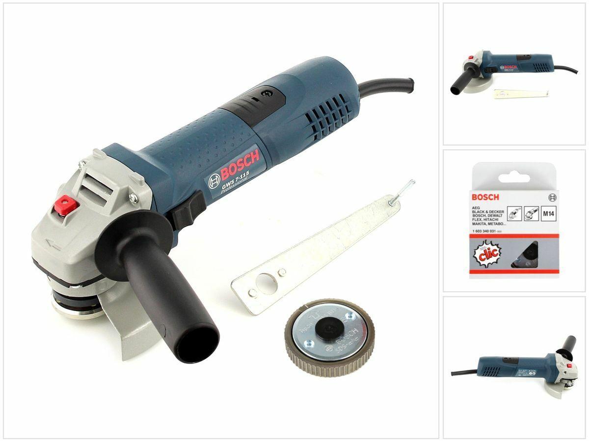Bosch GWS 7-115 E 720 W Professional Winkelschleifer 115 mm + Schnellspannmutter