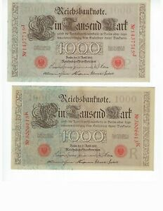 GERMANY-FROM-COLLECTION-1000-MK-NOTES-1910-3-PCS-RED-SEAL-1-GREEN-SEAL
