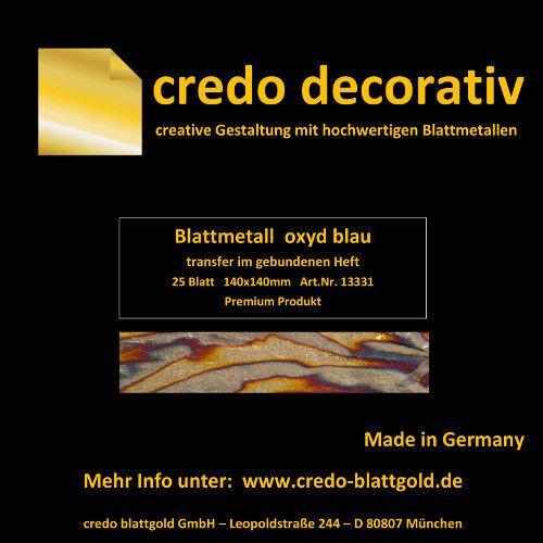 Schlagmetall Oxyd blau transfer 14x14 im Seidenpapierheftchen zum Vergolden