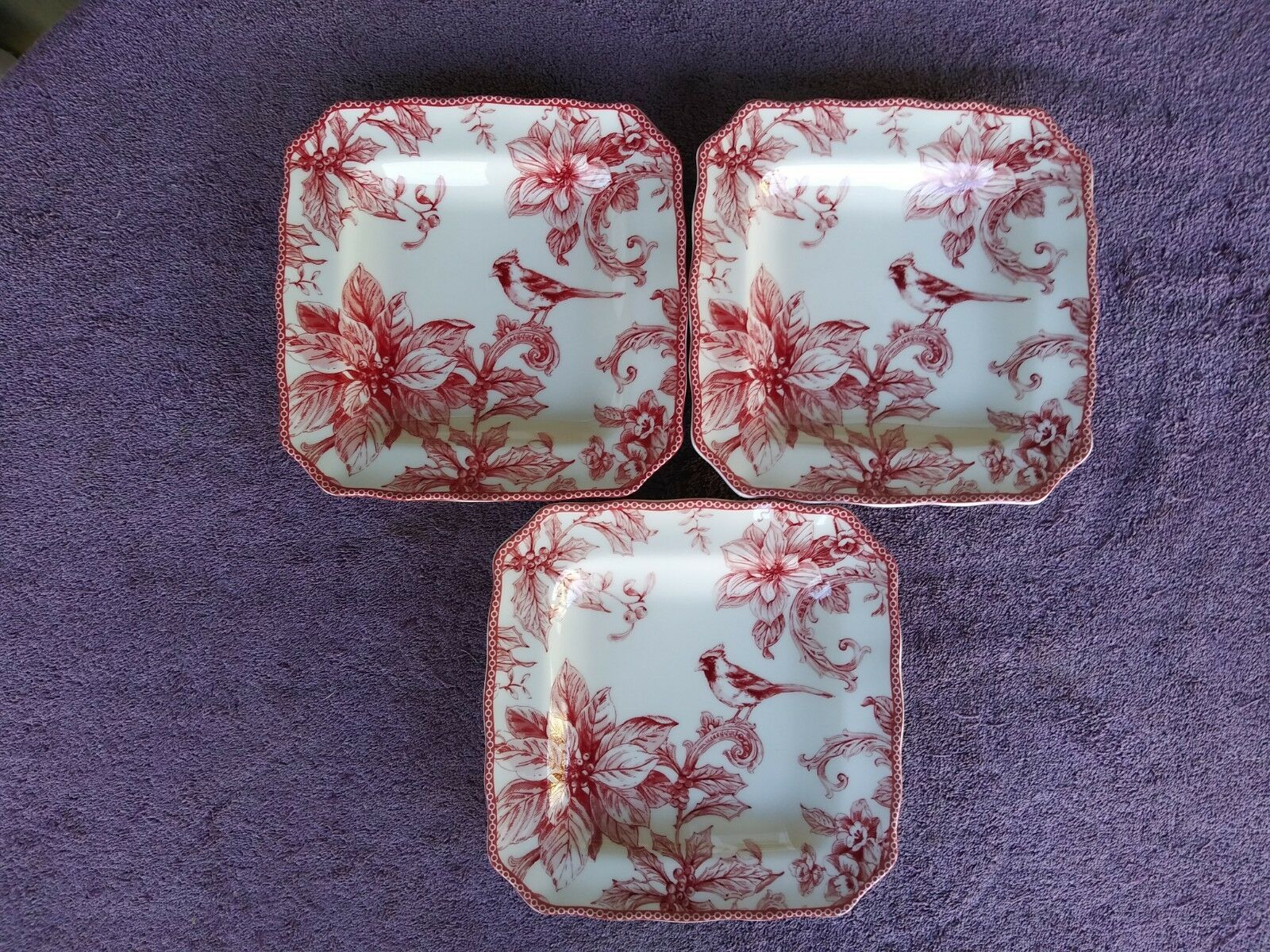 222 Fifth Christmas Lane Square Salad Plates Red Bird White 8.5  Set of 3