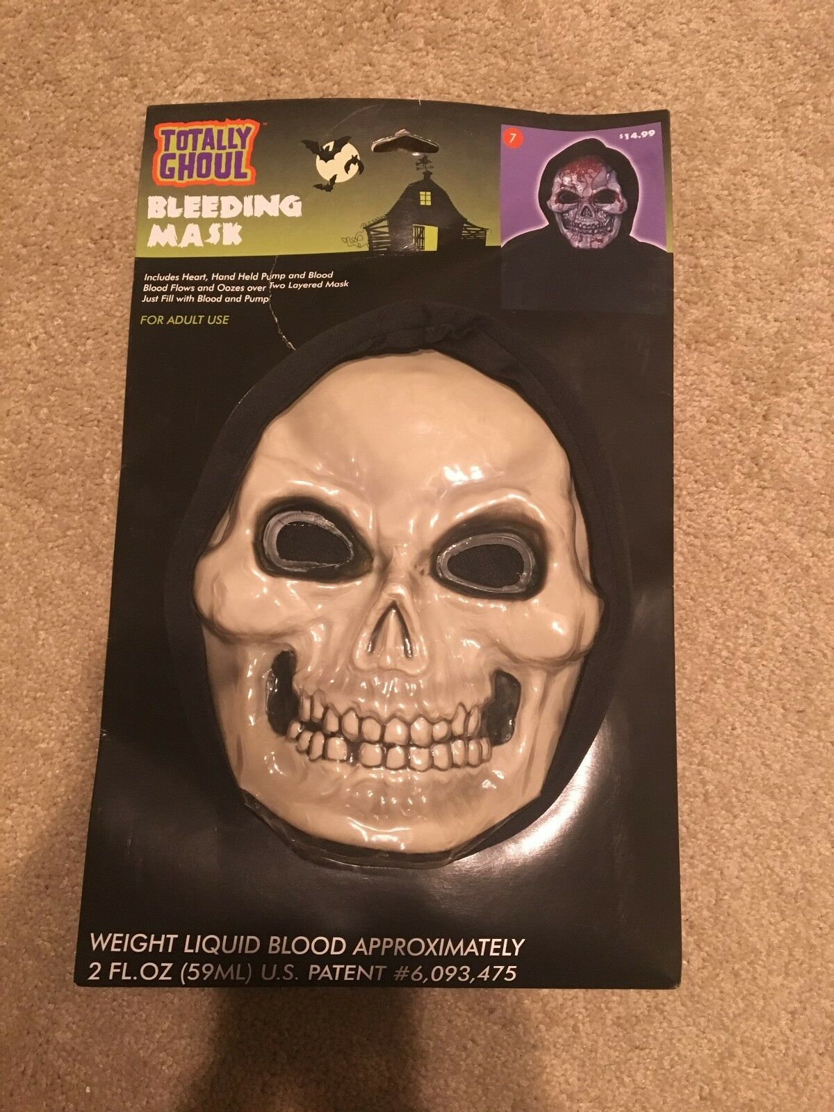 Adult Scary Costume Accessory Funworld Dripping Bleeding Skull Mask