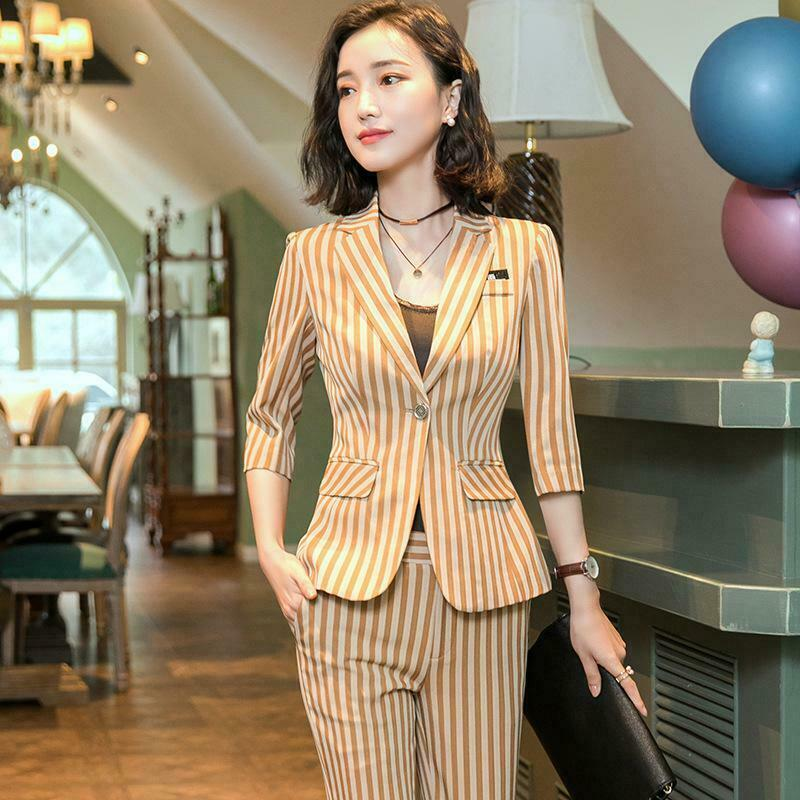 Summer Khaki Striped Suits for Women Pants and Blazer Slim Business Office Wear
