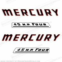 Mercury 1961 45hp Outboard Decal Kit - Reproduction Decals In Stock