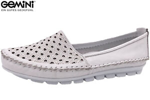 Details zu Gemini Damen Slipper Weiß Sommer Schuhe Leder bequem Ballerina NEU 3128 01 001