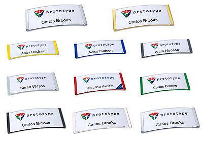 5 X Gewölbtes Kunststoff Namensschild, Versch. Farben Nadel Magnet Kombiclip