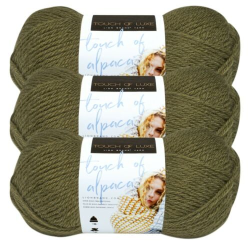 Lion Brand Yarn 674-132 Touch of Alpaca Yarn Pack of 3 skeins Olive