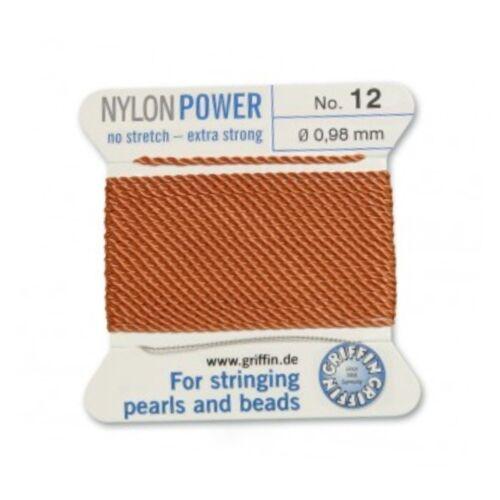 Cornaline Nylon Power soyeux thread 0.98 mm perles bead stringing Griffin 12