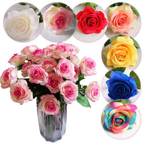 110pc artificial real touch silk flowers rose bunch wedding home image is loading 1 10pc artificial real touch silk flowers rose mightylinksfo
