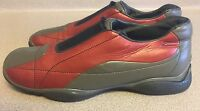 AUTHENTIC PRADA WOMEN'S Red LEATHER SNEAKERS Size 39.5 US SIZE 8.5