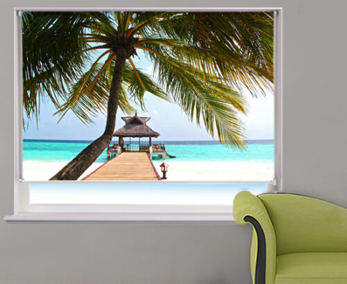 The Tropical Palm View printed picture photo roller blind made to measure