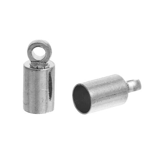 Endkappe für Schnur 2,5 mm Zylinder 9x3mm silber 4x