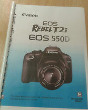 CANON  EOS 550D REBEL T2i USER MANUAL GUIDE INSTRUCTIONS  PRINTED 260 PAGES A5
