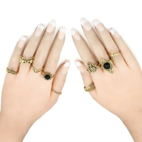 Womens New Popular Bowknot Knuckle Midi Mid Finger Tip Stacking Rings Sets Gifts
