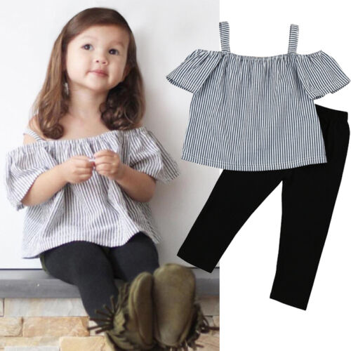 2PCS Kids Children Baby Girl Off Shoulder Strap Tops Shirt Pants Outfits Clothes