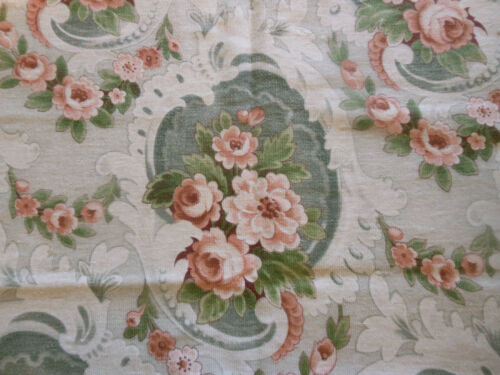 Antique French Art Nouveau Roses Cartouche Cotton Fabric~Sage Apricot Gray Brown