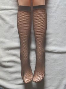 Dark-Brown-Fishnet-Knee-High-Socks-Pop-socks-Rave-Festival-Tan-Dark-skintone