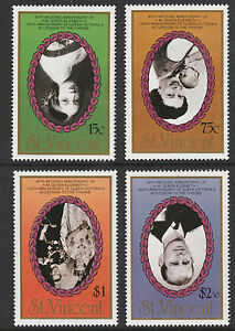 St Vincent (S03) 1987 Ruby Wedding 4 perforated vals with INVERTED CENTRES mnh