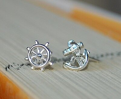 925 Sterling Silver Stud Earrings Anchor and Helm