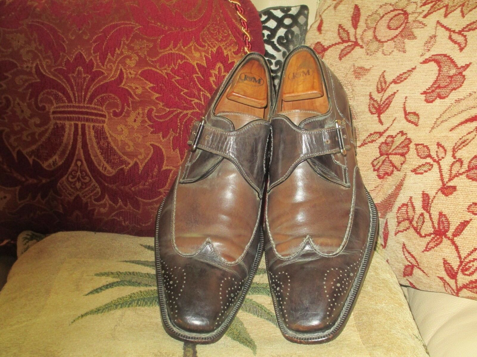 MEZLAN CUSTOM WINGTIP 9M MONK STRAP OXFORDS SIZE 9M WINGTIP MADE IN ITALY b5da05
