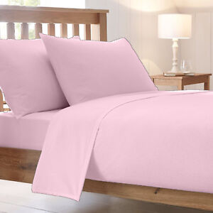 Image Is Loading Pink Poly Cotton Plain Dyed Fitted Bed Sheet