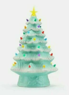 "Christmas Nostalgic Green Christmas Tree 12/"" NEW  LED Lights New Mr"