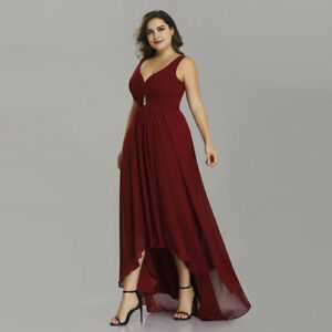 Details about Ever-Pretty US High Low Long V-neck Wedding Gown Burgundy  Bridesmaid Dress 09983 932148448