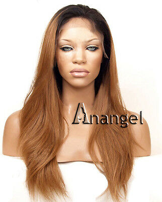 Long Straight Synthetic Lace Front Wig Black Root Brown Ombre Full Hair Wigs+Cap