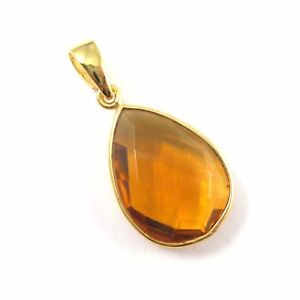 Citrine Quartz Bezel Gemstone Teardrop Pendant with Bail,22K Gold plated Silver