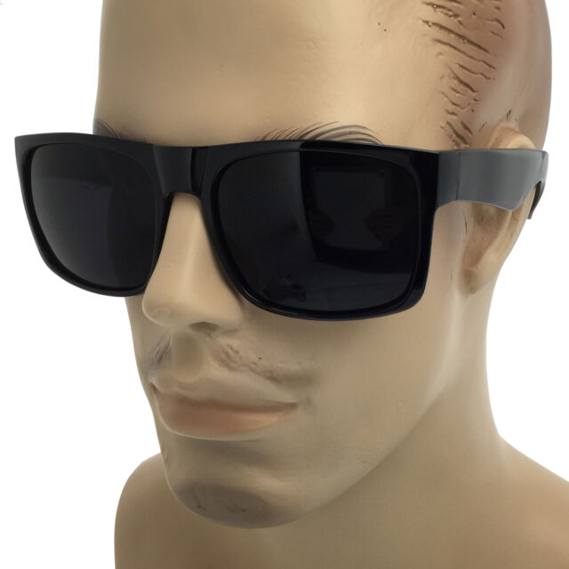 26fe78a935 MENS SUPER Dark Black Lens Sunglasses Square Oversized Mob Style Flat Top OG