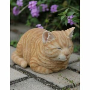 NEW Sleeping Orange Tabby Cat Figurine  Life Like Figurine Statue Home Garden