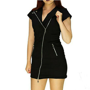 BLACK-ZIPPED-DRESS-by-Dr-FAUST-BIKER-GOTH-EMO-ALTERNATIVE-PUNK-size-10-12