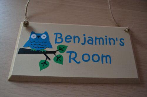 personalised kids children Owl door sign plaque MDF//vinyl