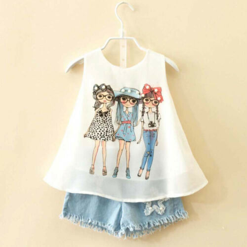 Toddler Kids Baby Girls Summer Outfit Clothes Top T-Shirt Jeans Short Pants