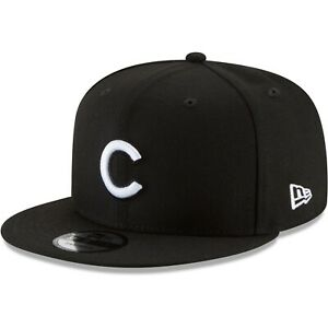 Chicago-Cubs-New-Era-9Fifty-Black-White-Logo-On-Field-Snapback-Hat-Cap-MLB