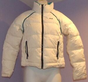 Womens-Le-Tigre-White-Teal-Puffy-Winter-Jacket-S