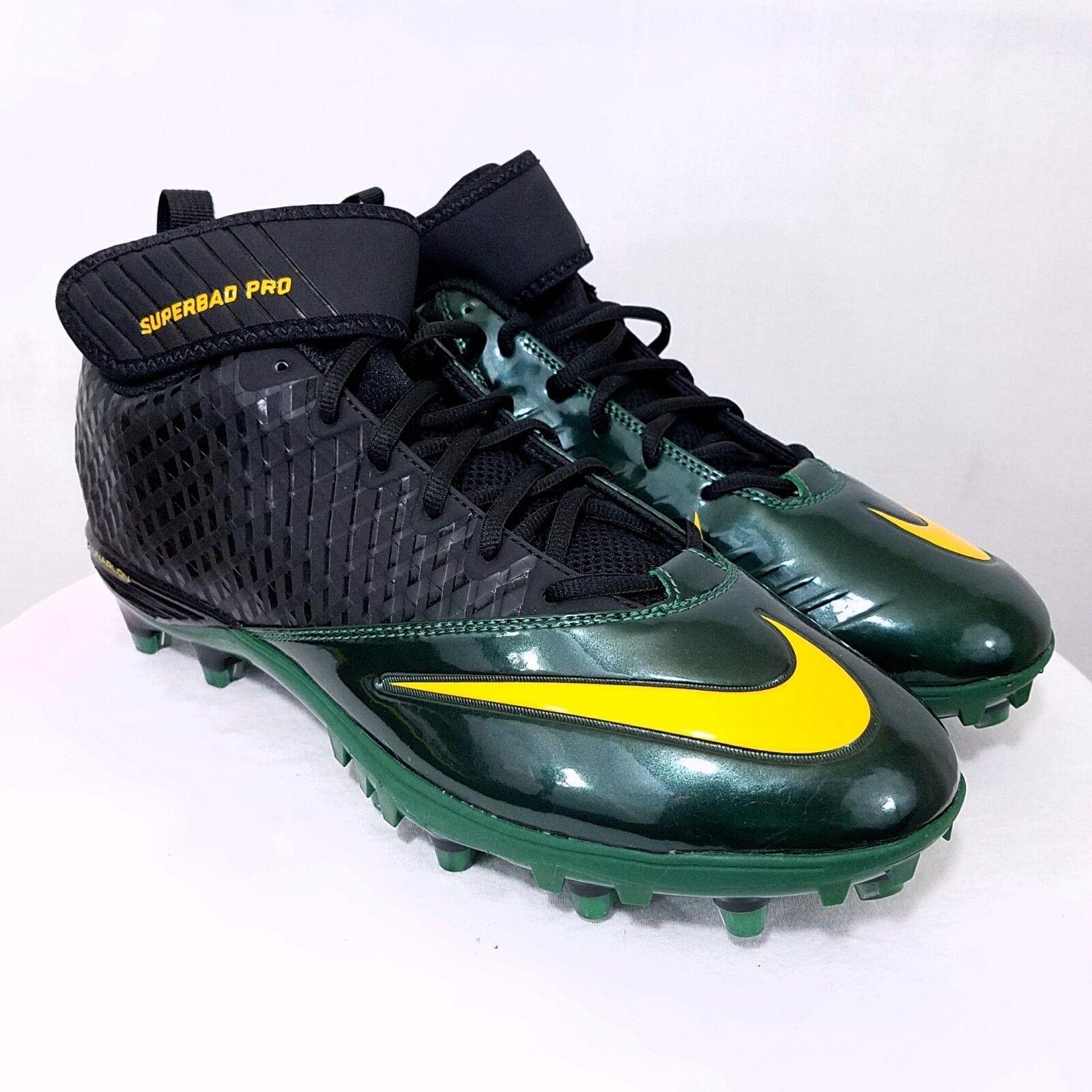 NIKE Lunar Superbad Pro TD Mens Football Cleats Green Yellow 534994 012 US 12.5
