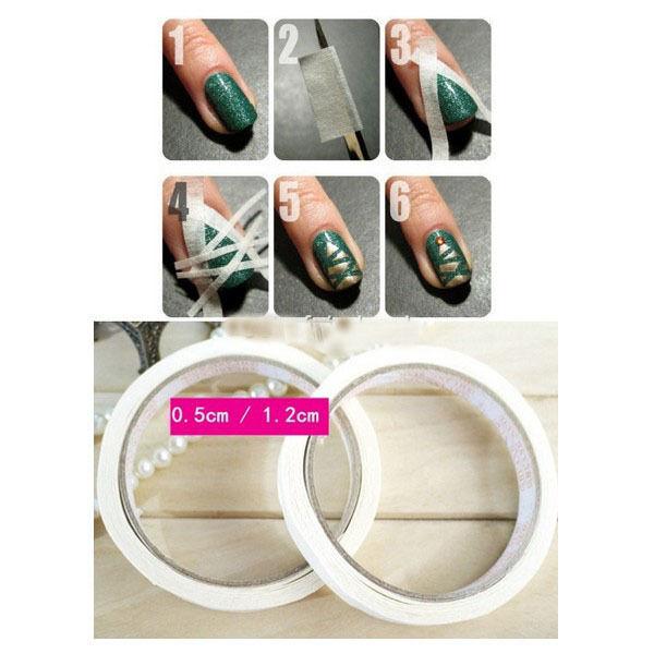 1 Roll 17m White Glue Tape Nail Art Stripes DIY Edge Guide Tool 0.5m / 1.2cm New