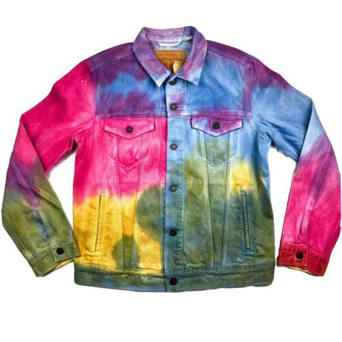 LEVI/'S Tie Dye Rainbow Denim Jean Jacket Mens Sz M Trucker Dead Head Pride