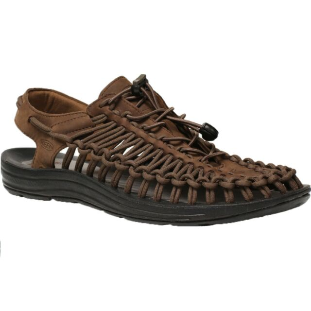 378dce32f8f3 Men Keen UNEEK LEATHER 1017199 Bison Black Bungee Lace Sports Sandal Shoes