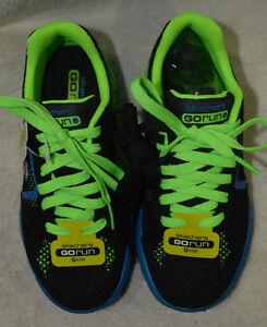 984f0e7ee136 Details about Boy s Skechers Go Run Ride Supreme Black Green Blue Sneakers  - Size 11 12