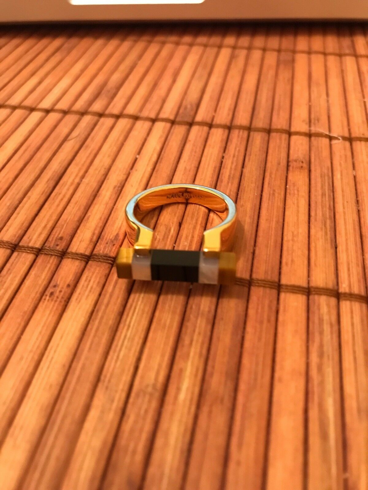 Original and New - BEAUTIFUL VITA FEDE Square Bar Ring - TIGER EYE AND ONYX