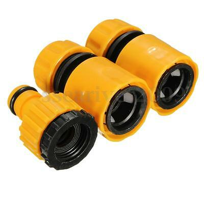 """3pcs 1/2"""" 3/4'' Water Hose Pipe Fitting Quick Connector Adaptor Tap Garden Tool"""