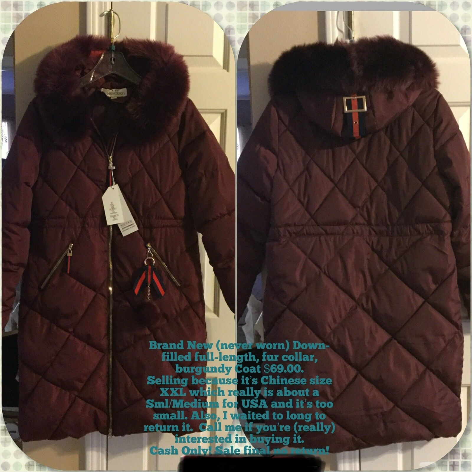 New Women's Burgundy down-filled coat with fur collar fits USA size M L