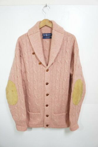 90S Vintage Ralph Lauren Shawl Collar Cable Knit W