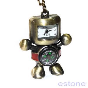 Hot Vintage Bronze Tone Robot Compass Pocket Chain Quartz Pendant Watch Necklace Watches
