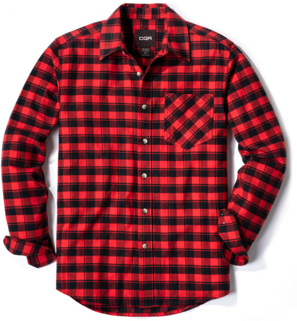 CQR Mens All Cotton Flannel Shirt Long Sleeve Outdoor Shirts Brushed Soft Casual Button Up Plaid Shirt