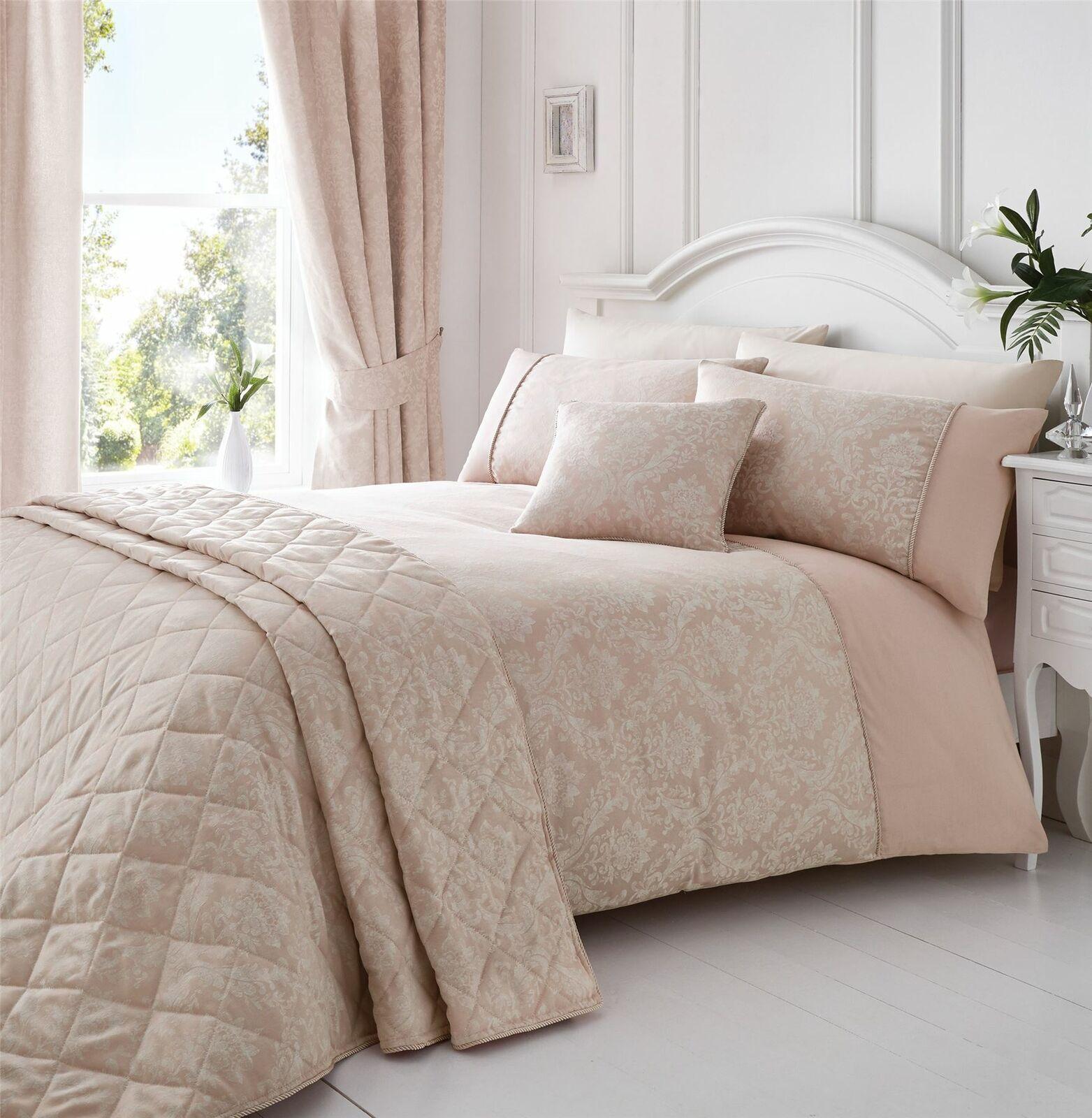 Gewebt Damast Verrohrt Rosa Weiß Doppelbett Bettwäsche | Exquisite (in) Verarbeitung
